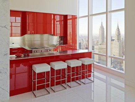Trump World Tower, penthouse kitchen. The last word in modern. Photo: Frank Oudeman