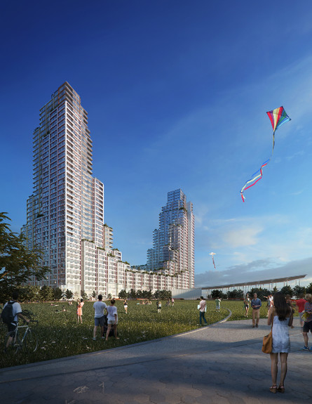 Affordable housing at Hunters Point South (rendering). By 2020 the city will have another 4 million residents. Photo: Moso Studio.